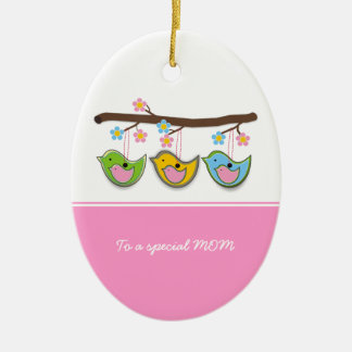 Cute pregnant birdies flowers Mother's Day Ornaments