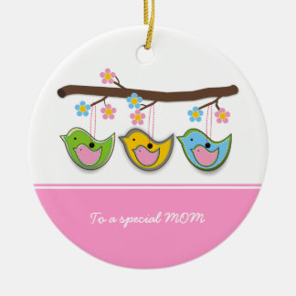 Cute pregnant birdies flowers Mother's Day Round Ceramic Decoration