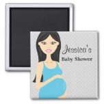 Cute Pregnant Woman In Blue Dress Baby Shower Square Magnet