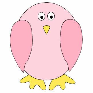 Cute Pretty Pink Bird Cartoon. Photo Sculpture Decoration