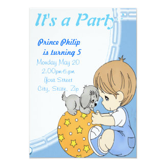 Cute Prince 13 Cm X 18 Cm Invitation Card