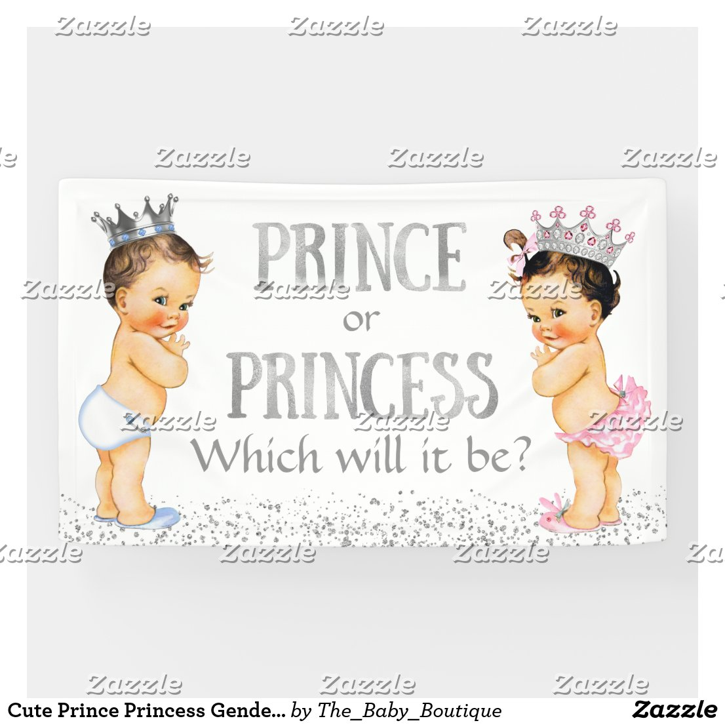 Cute Prince Princess Gender Reveal Baby Shower