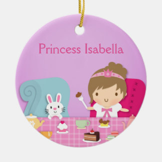 Cute Princess and Bunny Tea Party Girls Room Round Ceramic Decoration