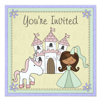 Cute Princess and Unicorn Birthday Invitation