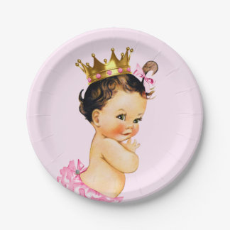 Cute Princess Baby Shower Paper Plate