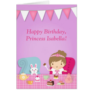 Cute Princess Bunny Tea Party Birthday Greeting Greeting Card