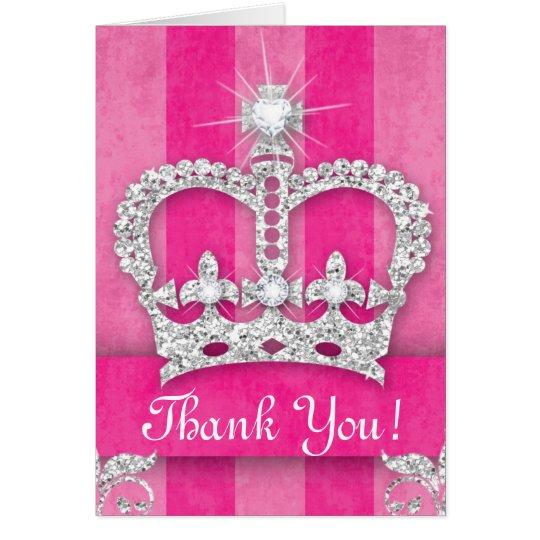 Cute Princess Crown Bling Pink Stripes Card