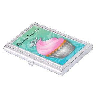 Cute Princess Cupcake Queen Bakery Pink Business Card Holder