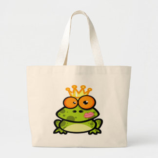 Cute Princess Frog with Golden Crown Jumbo Tote Bag