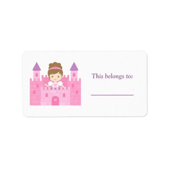 Cute Princess Girl in Pink Castle Address Label