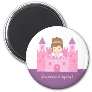 Cute Princess Girl in Pink Castle Fairytale 6 Cm Round Magnet