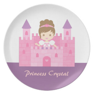 Cute Princess Girl in Pink Castle Plate