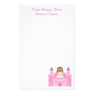Cute Princess Girl in Pink Castle Custom Stationery