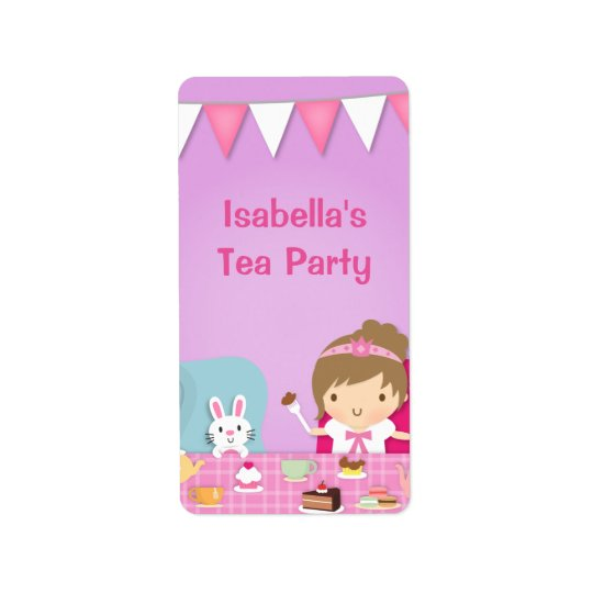 Cute Princess Girl Tea Party Birthday Address Label