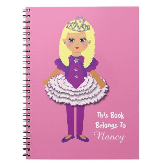 Cute Princess Girl's Cartoon Character Notebook