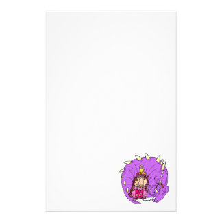 Cute Princess & Pet Dragon Stationery Paper