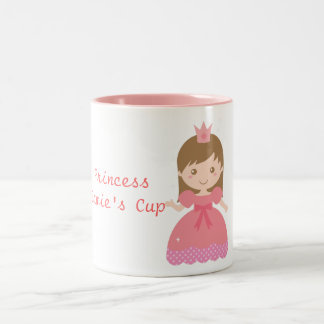 Cute Princess, Pink for Little Girls Two-Tone Mug