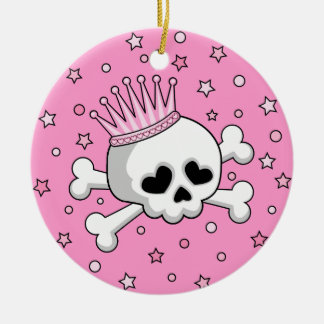 Cute Princess Skull Christmas Ornament