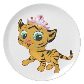 Cute Princess Tiger Tigress Tiara Gift Present Plate