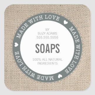 CUTE PRODUCT LABEL made with love burlap fabric