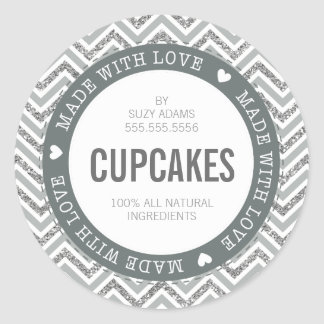 CUTE PRODUCT LABEL made with love chevron glitter Round Sticker