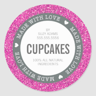 CUTE PRODUCT LABEL made with love glitter pink Round Sticker