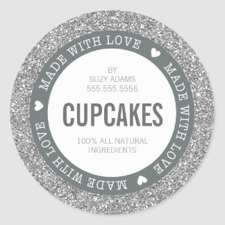 CUTE PRODUCT LABEL made with love glitter silver Round Sticker