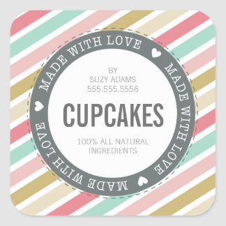 CUTE PRODUCT LABEL made with love pastel colorful Square Sticker