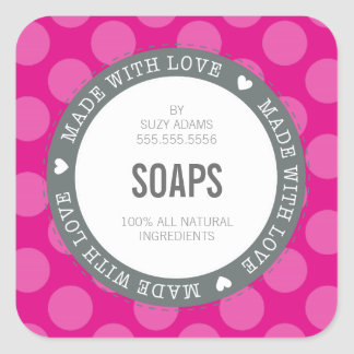 CUTE PRODUCT LABEL made with love polka dot pink Square Sticker