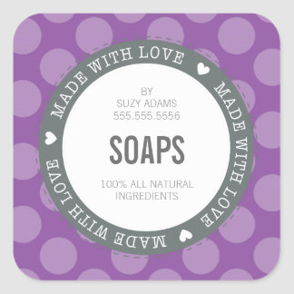 CUTE PRODUCT LABEL made with love polka dot purple Square Sticker