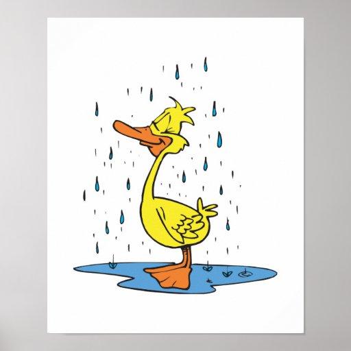 cute puddle duck in the rain print