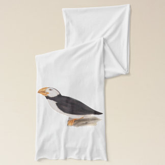 Cute Puffin Birds Illustration Scarf