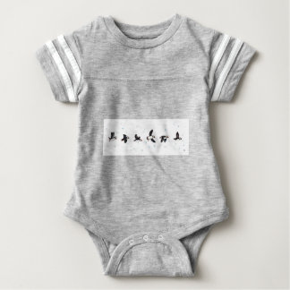 Cute puffins flying baby bodysuit