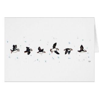 Cute puffins flying card
