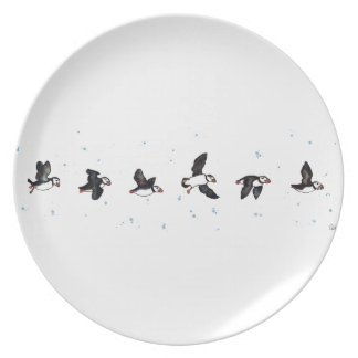 Cute puffins flying party plate