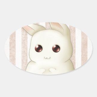 Cute Puffy Kawaii Bunny Rabbit Oval Sticker
