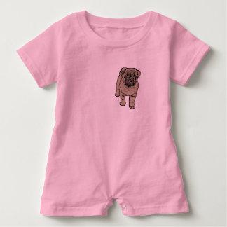 Cute Pug Baby Romper -Pink Baby Bodysuit