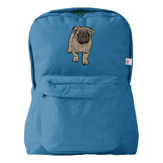 Cute Pug Backpack - Blue