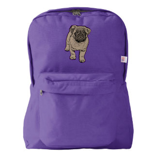 Cute Pug Backpack  Purple