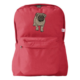 Cute Pug Backpack - Red