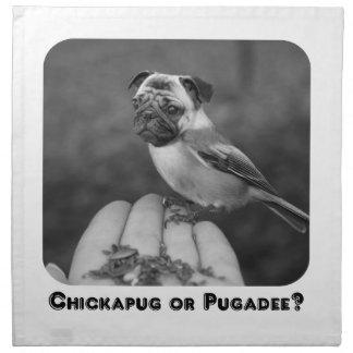 Cute Pug Bird in Black and White Printed Napkins