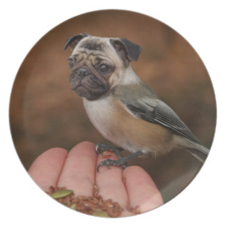 Cute Pug Bird Plate
