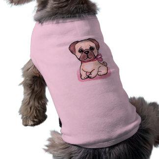 Cute Pug Bow art  lovely t shirt great present Sleeveless Dog Shirt