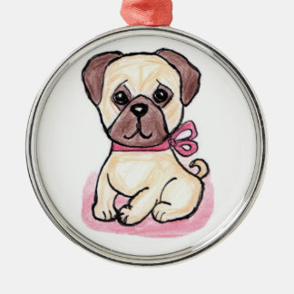 CUTE PUG BOW ORNAMENT LOVELY PRESENT
