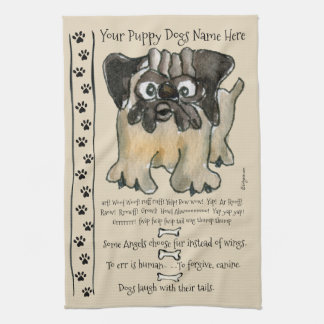 Cute Pug Cartoon Dog Quotes Kitchen Towel