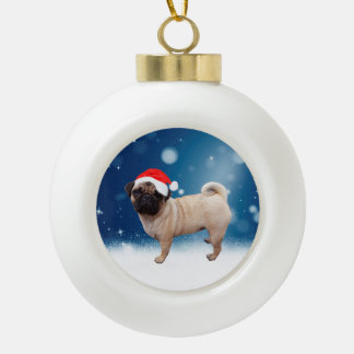 Cute Pug Dog Christmas Santa Hat Snow Stars Ceramic Ball Decoration