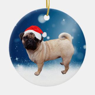 Cute Pug Dog Christmas Santa Hat Snow Stars Christmas Ornament