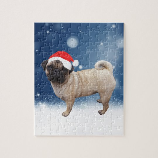 Cute Pug Dog Christmas Santa Hat Snow Stars