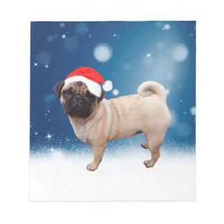 Cute Pug Dog Christmas Santa Hat Snow Stars Notepad
