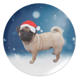 Cute Pug Dog Christmas Santa Hat Snow Stars Plate